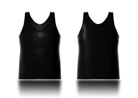 3d zwarte tanktop voor-en achterkant voor design pattern nieuwe producten kledingstuk template Stockfoto