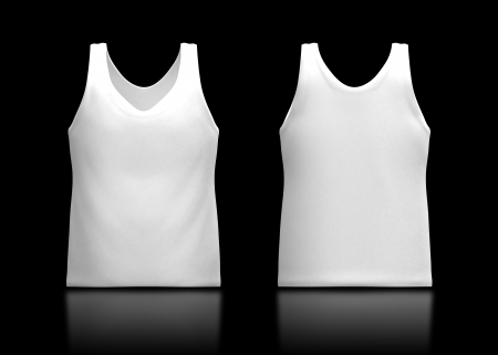 camisole: 3d white tank top front and back in isolated background for garment products