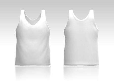 3d witte tank top voor-en achterkant in geïsoleerde achtergrond voor kledingstuk producten Stockfoto