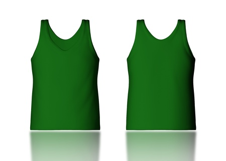 camisole: 3d green tank top front and back in isolated background for garment products