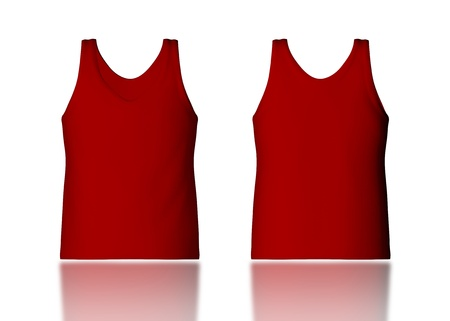 camisole: 3d red tank top front and back in isolated background for garment products
