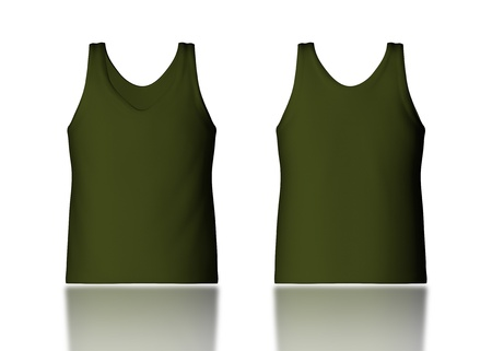 vest in isolated: 3d dark cork tank top front and back in isolated background for garment products  Stock Photo