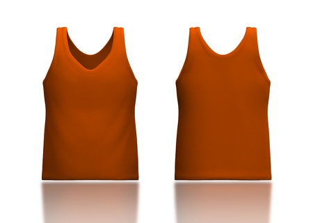 camisole: 3d orange tank top front and back in isolated background for garment products