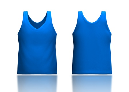camisole: 3d light blue tank top front and back in isolated background for garment products