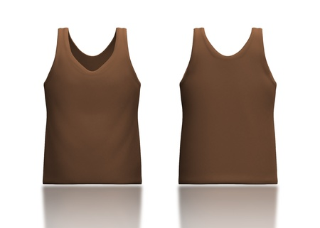 camisole: 3d brown tank top front and back in isolated background for garment products