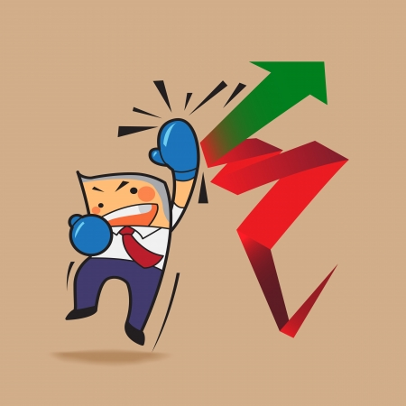 change of direction: vector business man punch red arrows to green arrows change direction stock market up, positive, business concept cartoon  Illustration