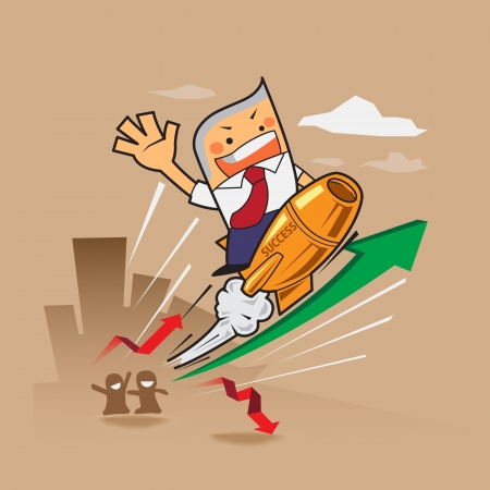 vector zaken man rit gouden raket concept met beurs rode en groene pijlen negatieve en positieve omlaag, omhoog succesvol, succes concept cartoon