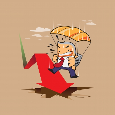 vector zakenman risico, parachute concept met beurs rode en groene pijlen negatieve en positieve neer, falen, succes concept cartoon