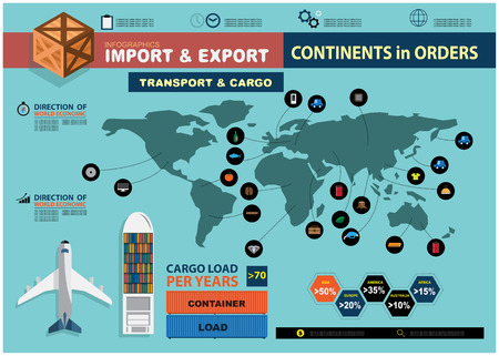 logistics world: Infographics import and export Illustration