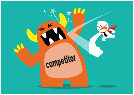 superhero fighting with the monster as competitor in business, business concepts