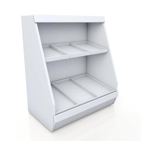 3d clean white shelves for products showing in isolated background with work paths, clipping paths included photo
