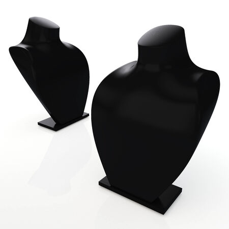 bust: 3D matte black bust for showing or exhibit jewelry necklace in isolated background with work path, clipping paths included