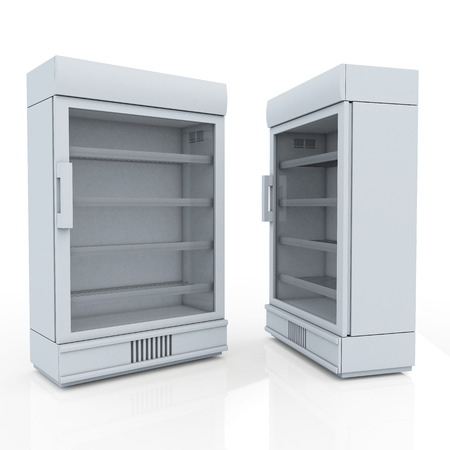 3D fridge for drink products or beverage in isolated background with work paths, clipping paths included photo