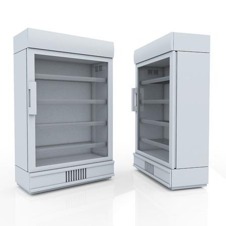 3D koelkast voor drank producten of drank in geïsoleerde achtergrond met werk paden, het knippen inbegrepen wegen