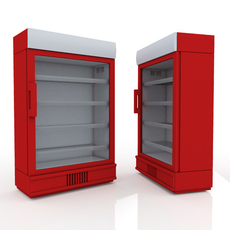3D red fridge for drink products or beverage in isolated background with work paths, clipping paths included photo