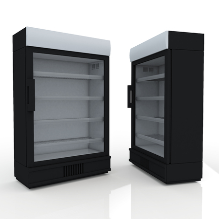 cold storage: 3D black fridge for drink products or beverage in isolated background with work paths, clipping paths included Stock Photo