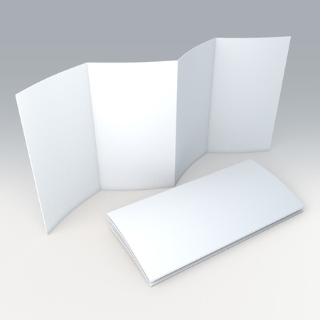 3D clean white blank 8 pages accordion fold brochure in isolated background with work paths Stockfoto