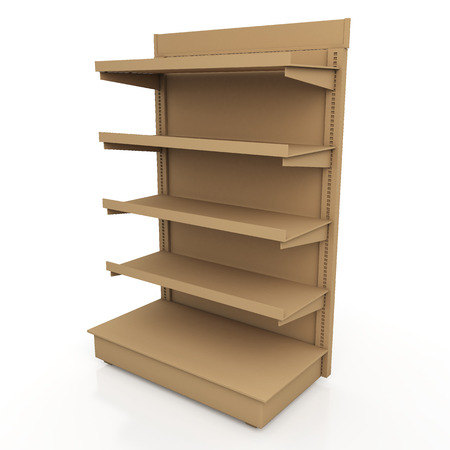 3d original brown racks shelves for products showing in isolated background with work paths, clipping paths included photo