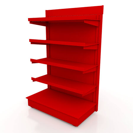 3d red racks shelves for products showing in isolated background with work paths, clipping paths included Stock Photo