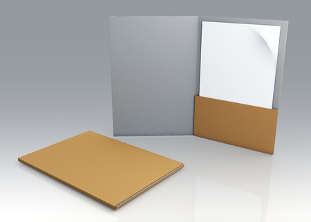 dossier: 3D blank clean white and original brown folder for document papers sheets A4 container in isolated background
