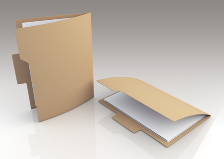 dossier: 3D original brown folders container A4 papers sheets and reflection in isolated background  Stock Photo