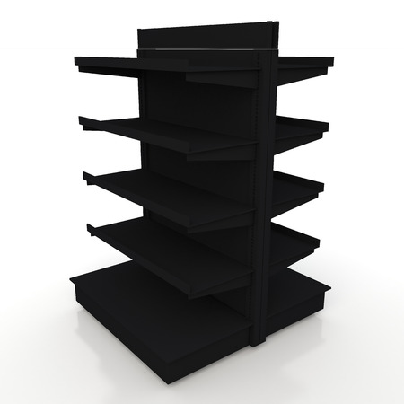 3d matte black racks shelves 2 side for products showing in isolated background with work paths, clipping paths included photo