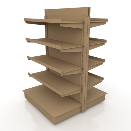 3d original brown racks shelves 2 side for products showing in isolated background with work paths, clipping paths included