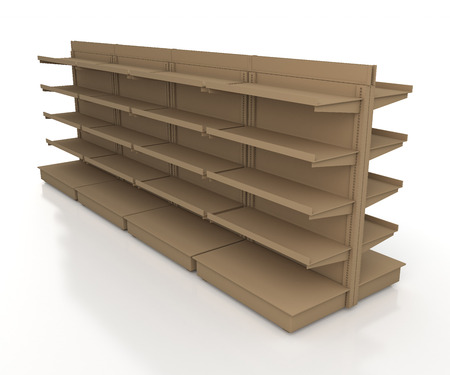 3d original brown racks shelves 2 side for products showing in isolated background with work paths, clipping paths included photo