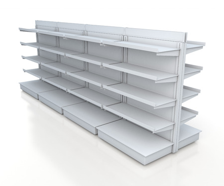 fixtures: 3d clean white racks shelves 2 side for products showing in isolated background with work paths, clipping paths included Stock Photo