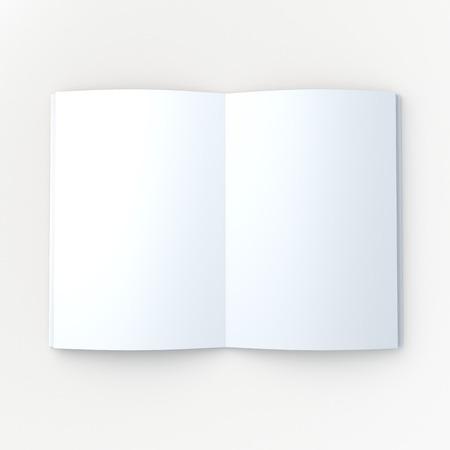 3 D 空白きれいな白いモックアップの本や雑誌、パンフレットは作業パスをクリッピング パスが含まれている孤立したバック グラウンドでページを