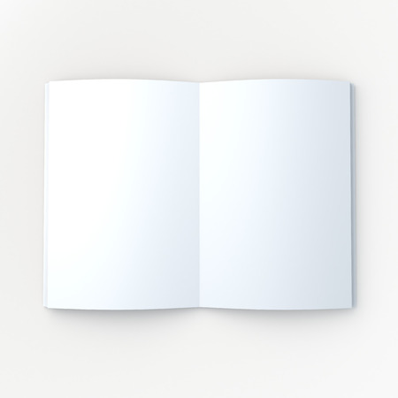 3D blank clean white mock up book or magazine, brochure open page in isolated background with work paths, clipping paths included