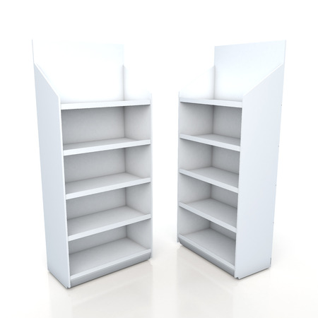 3d clean white racks shelves for products showing in isolated background with work paths Imagens