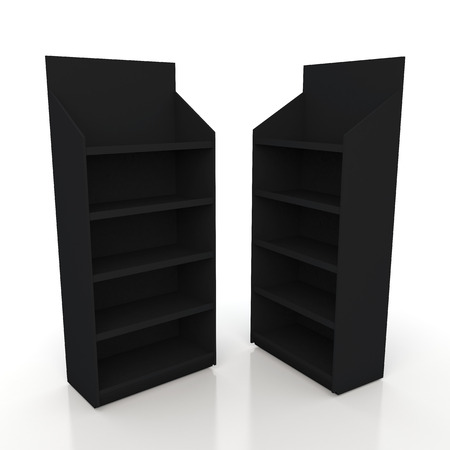 3d matte black racks shelves for products showing in isolated background with work paths photo