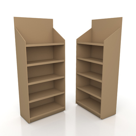 3d original brown racks shelves for products showing in isolated background with work paths photo