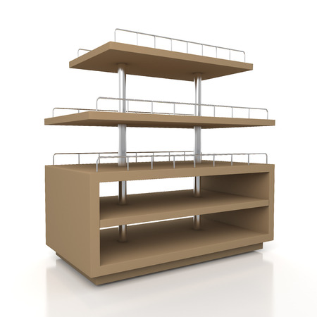3d original brown racks shelves for bakery products showing in isolated background  photo