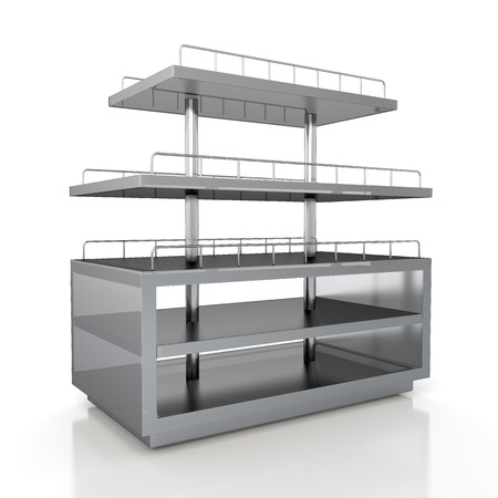 3d transparent acrylic racks shelves for bakery products showing in isolated background