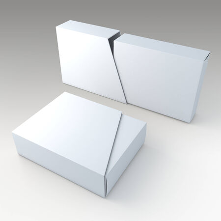 product packaging: 3D clean white blank box and blank slide trapezoid cover in isolated background with work paths, clipping paths included