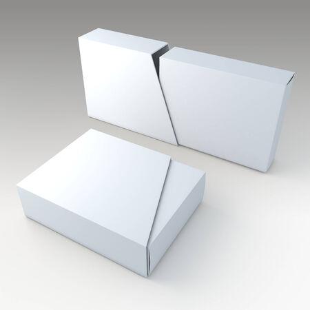 trapezoid: Caja 3D limpia blanco en blanco y la cubierta trapezoidal diapositiva en blanco en el fondo aislado con los caminos del trabajo, trazados de recorte incluidos Foto de archivo