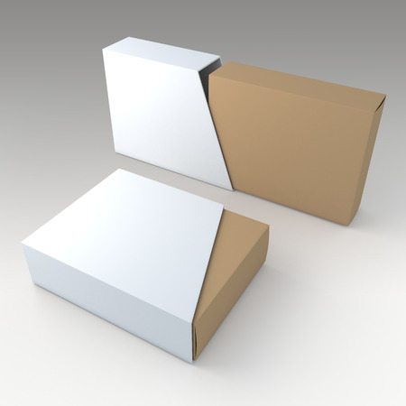 box template: 3D clean white and original brown blank box and blank slide trapezoid cover in isolated background with work paths, clipping paths included