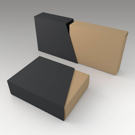 trapezoid: 3D matte black and original brown blank box and blank slide trapezoid cover in isolated background with work paths, clipping paths included
