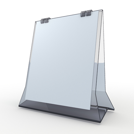 time table: 3d clean white papers and transparent acrylic base carton desk display attach papers peel as calendar in isolated background Stock Photo