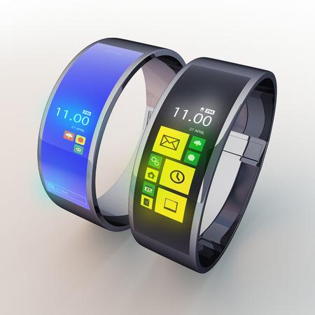 3D geef slimme horloge 2 soort in geïsoleerde achtergrond met werk paden, het knippen inbegrepen wegen Stockfoto