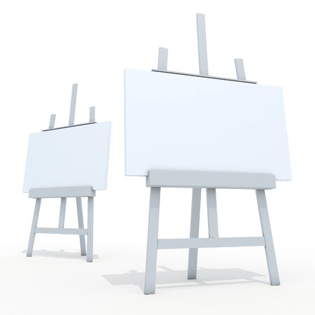 3d clean white easel and clean white canvas in isolated background with work paths, clipping paths included photo