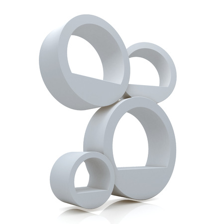 3d clean white abstract shelves for decorate in isolated background with work paths, clipping paths included photo