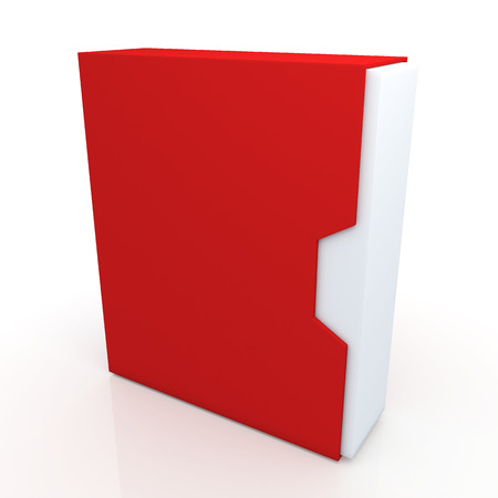 dovetail: 3d red and clean white box dovetail option container blank template in isolated background with work paths, clipping paths included