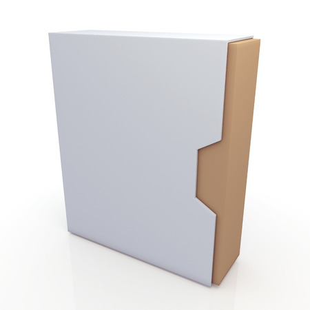 dovetail: 3d oriinal brown and clean white box dovetail option container blank template in isolated background with work paths, clipping paths included