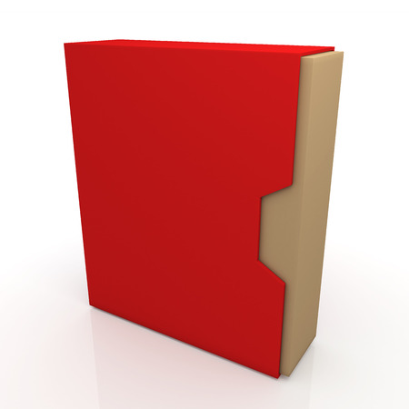 dovetail: 3d red and original brown box dovetail option container blank template in isolated background with work paths, clipping paths included Stock Photo