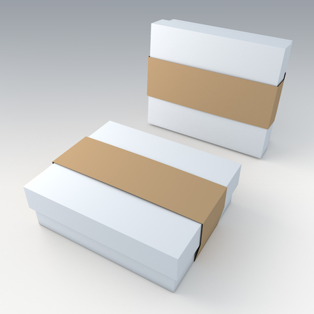 box: 3D clean white garment or leather products packaging and original brown jacket label ring in isolated with work paths, clipping paths included