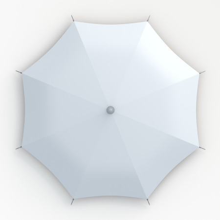 beach umbrella: 3D clean white umbrella top view in isolated background with work paths, clipping paths included