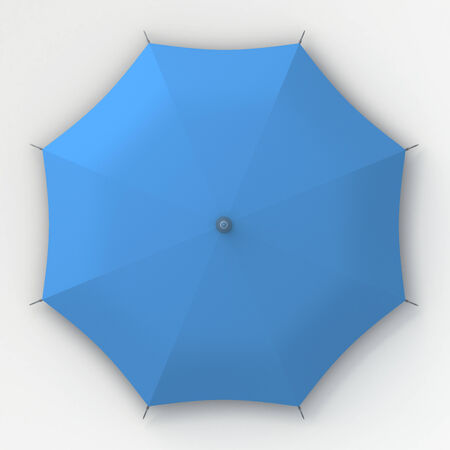 3D blue umbrella top view in isolated background with work paths, clipping paths included photo